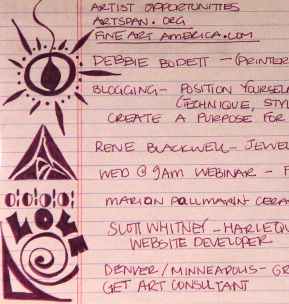 My notes from an art workshop that I attended.